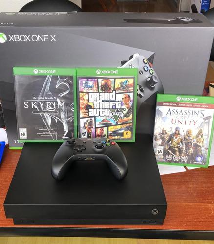 xbox one x 1tb + 3 juegos fisicos usada 1 mes !!!