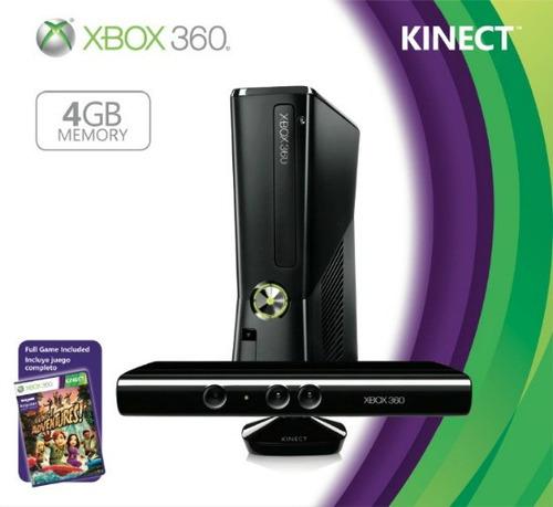 xbox360 xbox 360 slim 4gb kinect + unlock + 5jgs garan finan