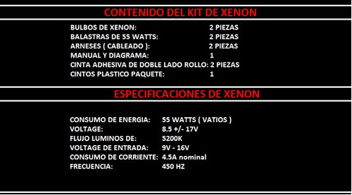 xenon / hid faro juego kit de instalacion volkswagen