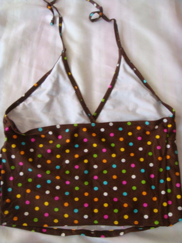 xhilaration tankini traje de baño polka dots cafe talla xs