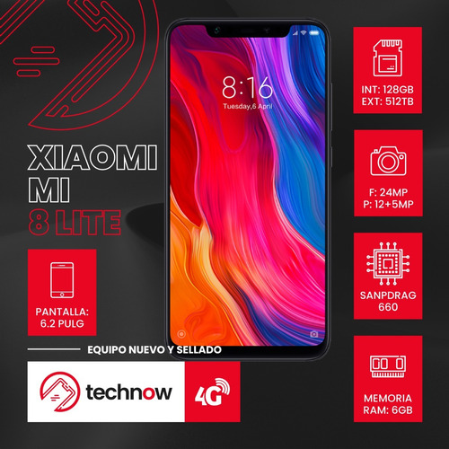 xiaomi mi 8 lite 128gb 6gb ram version global - mercado pago