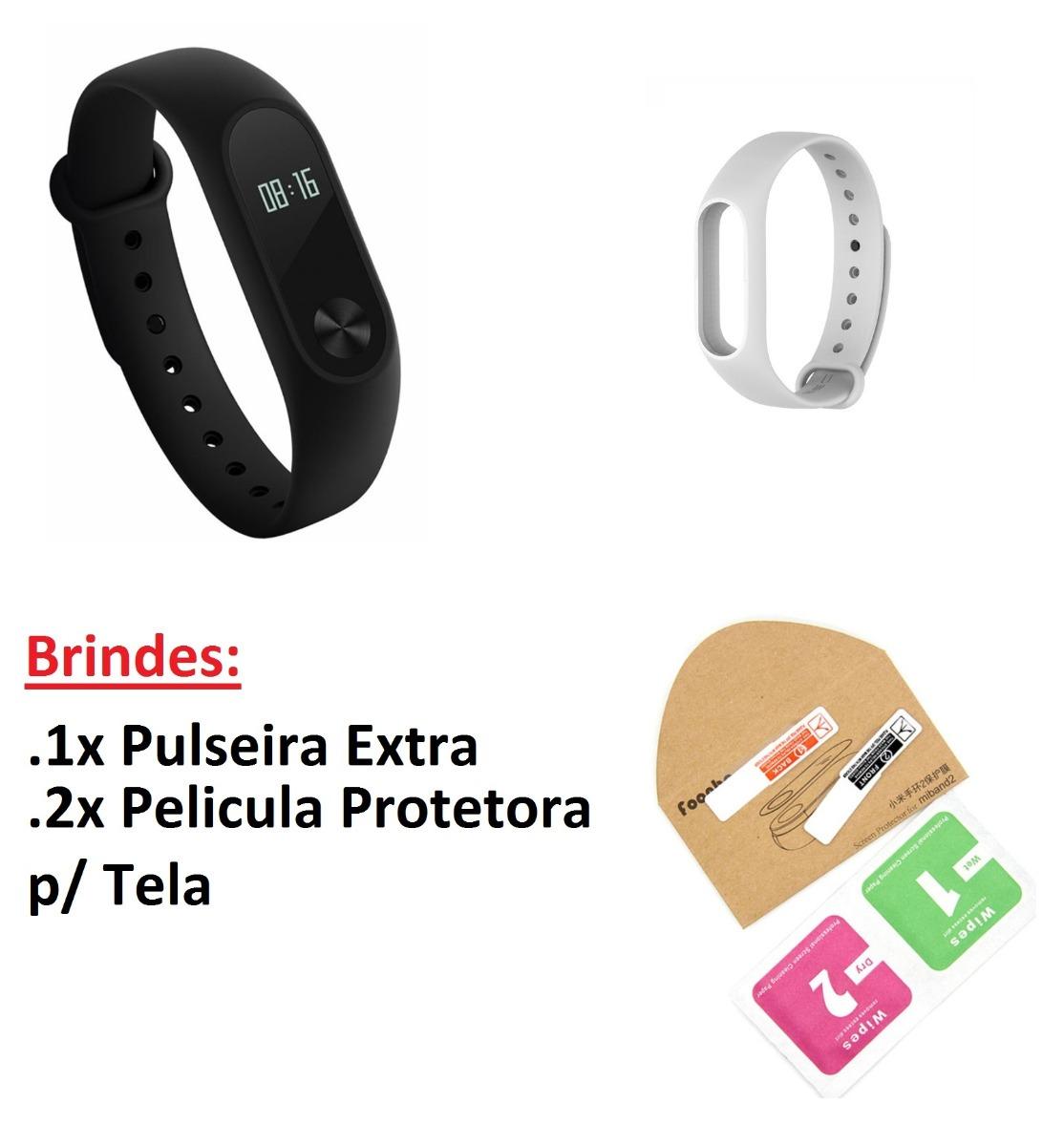 Xiaomi Mi Band 2 2x Peliculas 1x Pulseira Extra Brinde R 139 Bonus Screen Guard Carregando Zoom