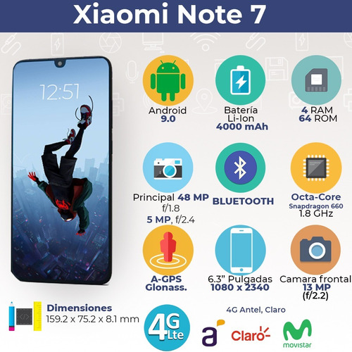 xiaomi note 7 64gb/4gb 48mpx camera + funda + smartwatch