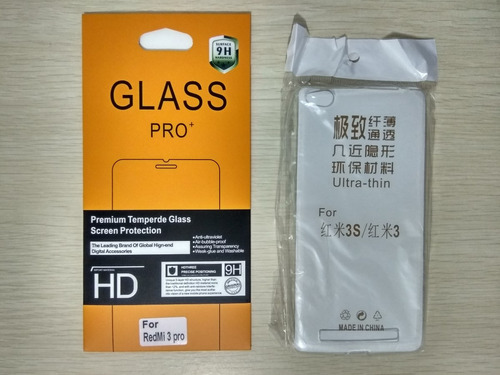 xiaomi redmi note 3 pro vidrio templado + case tpu silicona