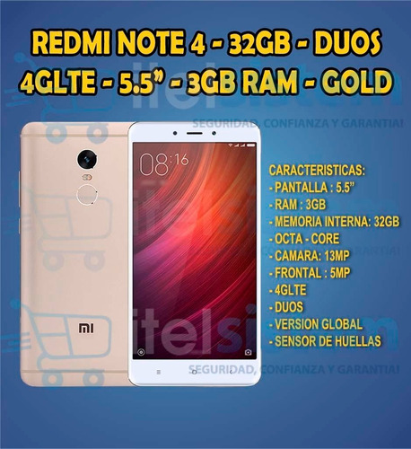 xiaomi redmi note 4 global 32gb 3gb ram 4g lte  itelsistem