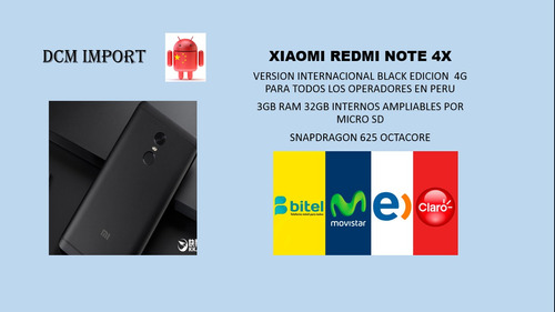 xiaomi redmi note 4 o 4x black edition 4g peru-caja sellada.