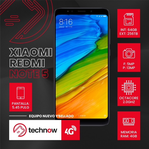 xiaomi redmi note 5 64gb ram 4gb version global - rojo