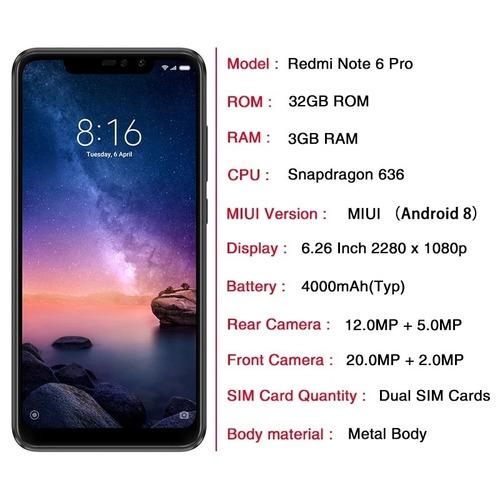xiaomi redmi note 6 pro 32gb global nuevo sellado tienda