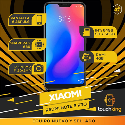 xiaomi redmi note 6 pro 4gb 64gb version global nuevo- negro