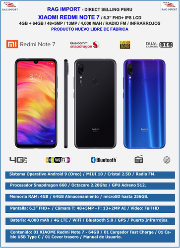 xiaomi redmi note 7 / 64gb / 4gb ram / colores oferta tienda
