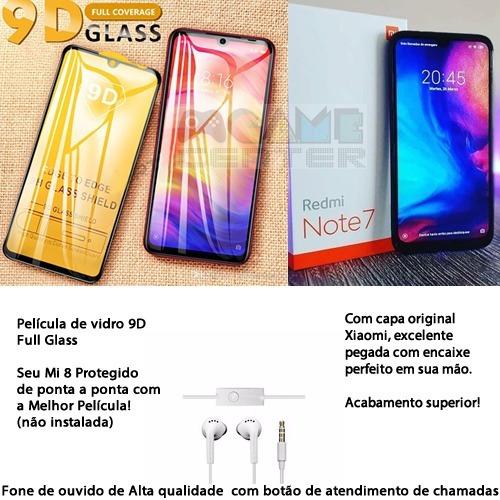 xiaomi redmi note 7 64gb/4gb +2 chips pelicula+fone+capa versão global br (4g mais rápido no brasil) com nf-e