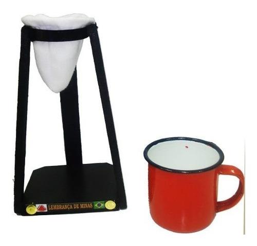 xícara agata esmaltada vermelha + coador e mancebo 170ml
