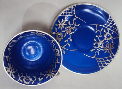 xícara (s) antiga mauá anos 50 azul cobalto flores prateadas