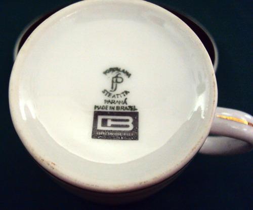 xícara (s) cafezinho porcelana steatita dourada e preta