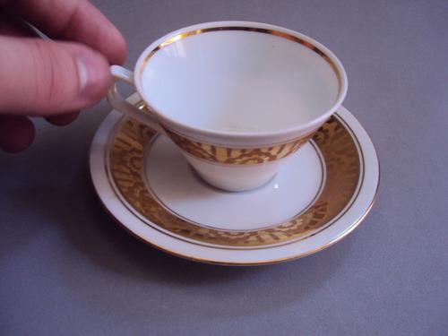 xícara (s) de cafezinho polonesa com borda dourada