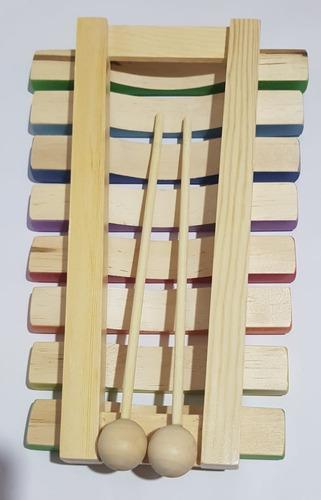 xilofone infantil de 8 notas dolphin madeira colorido 9734