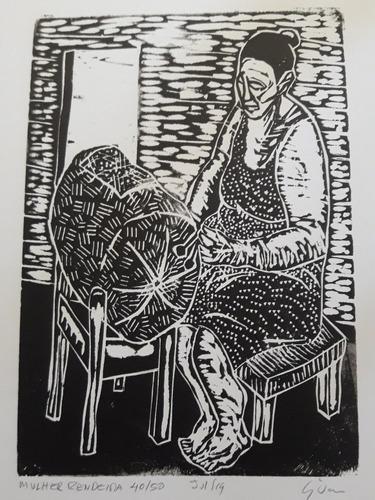 xilogravura assinada - mulher rendeira  - gilvan lopes
