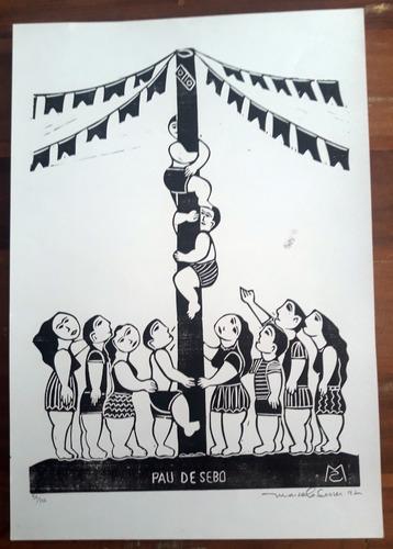 xilogravura assinada - pau de sebo - marcelo soares