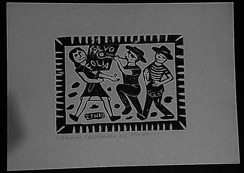 xilogravura assinada - zênio ( carnaval - 25 x 35 cm)