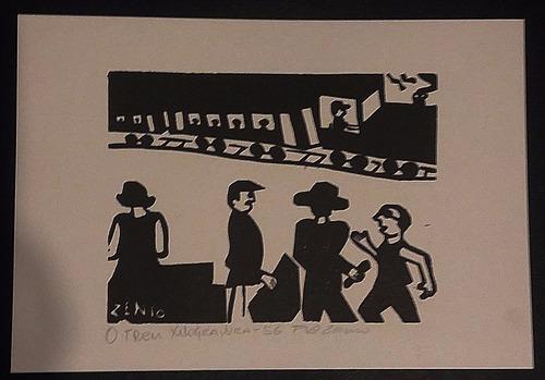 xilogravura assinada - zênio ( o trem - 21 x 31 cm)