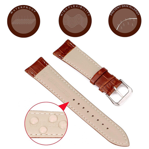 xingan ancho 22mm reemplazo reloj banda genuino cuero correa