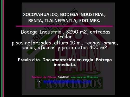 xocoyahualco, bodega industrial, renta, tlalnepantla, edo mex.