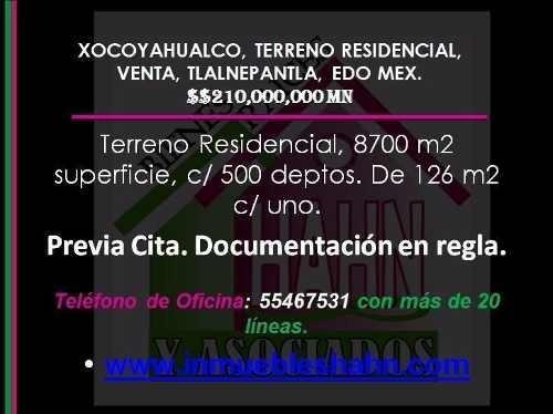 xocoyahualco, terreno residencial, venta, tlalnepantla, edo mex.