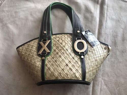 xoxo bolsa playa tejida palma asas color chocolate c/ verde