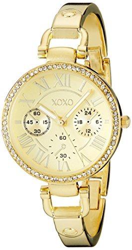 xoxo xo5756 brazalete de acero inoxidable de tono dorado con