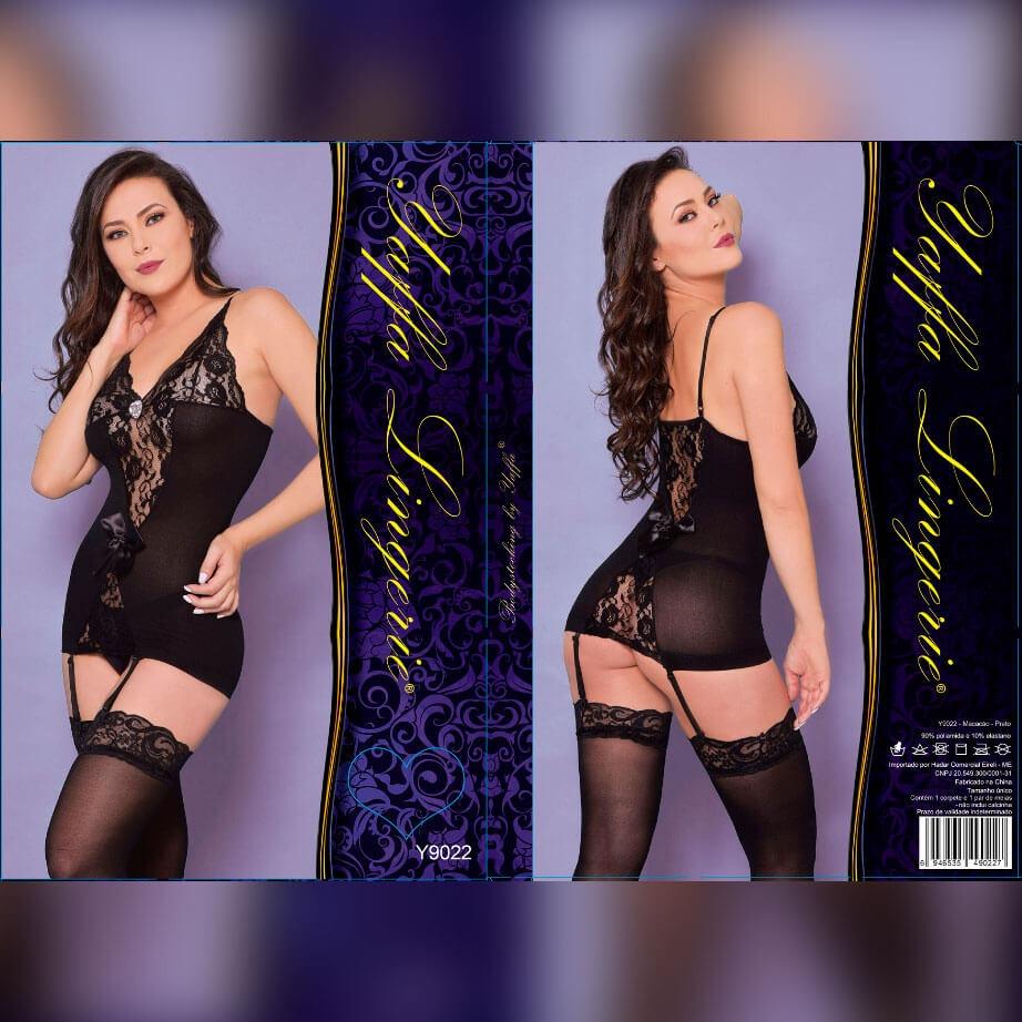 46cece524 yaffa lingerie - mini vestido rendado com cinta liga e meias. Carregando  zoom.
