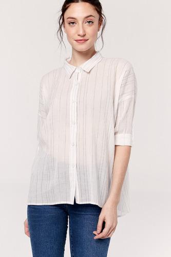yagmour camisa oversize, manga larga rayada hilo color.