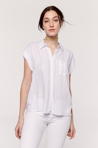 yagmour camisa rayada, oversize, manga caída con bolsillo.