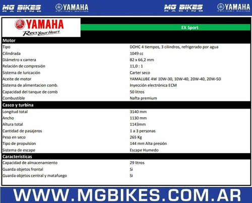 yamaha ex sport 1050 -2018 única unidad disponible -mg bikes