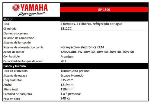 yamaha gp 1800 moto de agua 2018 - reserva tu unidad