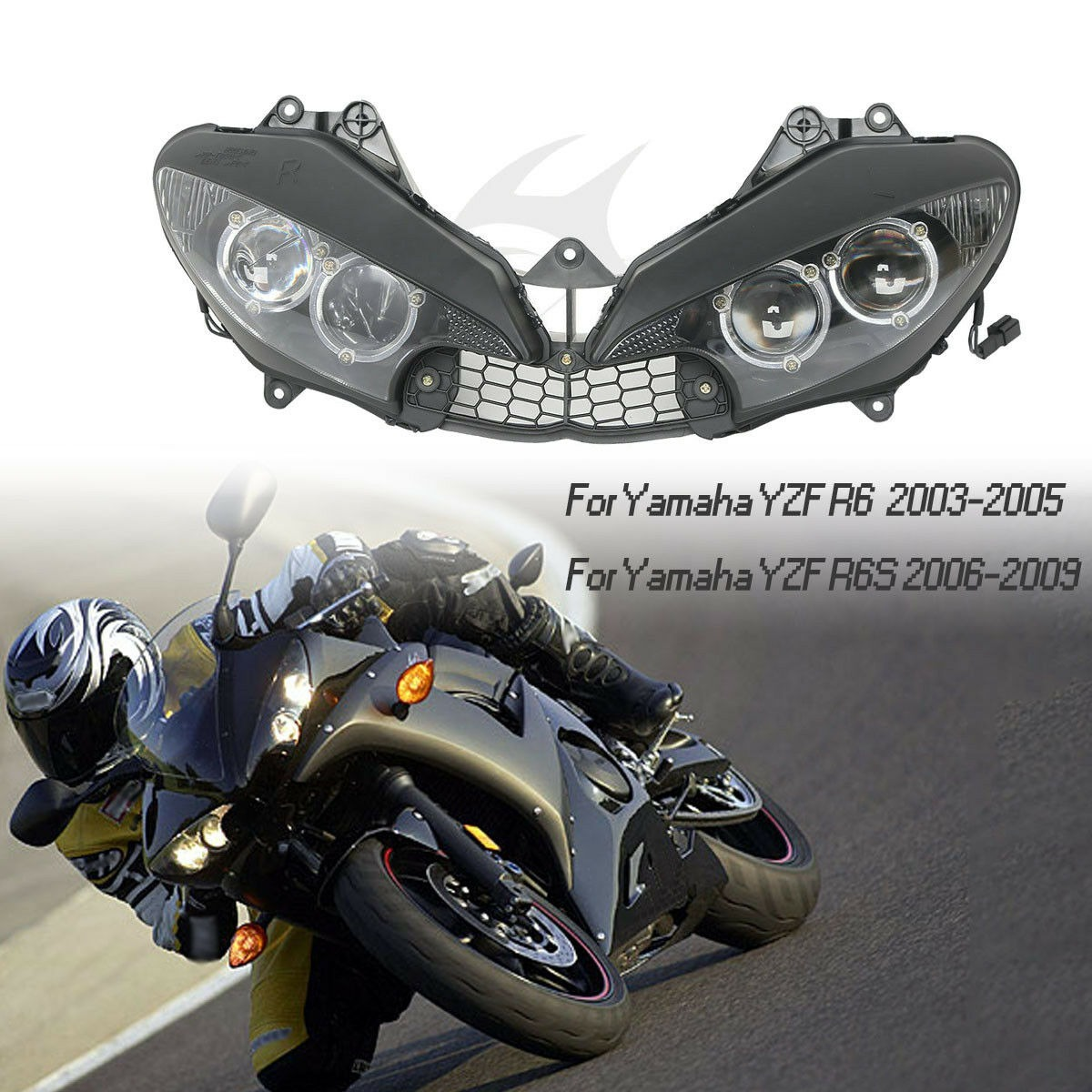 Moto Faro delantero Para Yamaha YZF R6 2003-2005 R6s 2006-2009