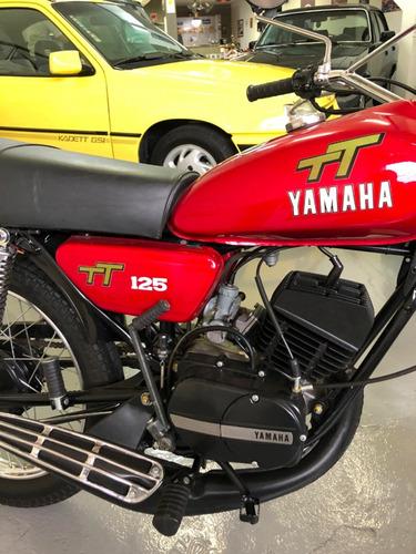 yamaha tt 125cc 1980 impecável, placa preta, manual e chave