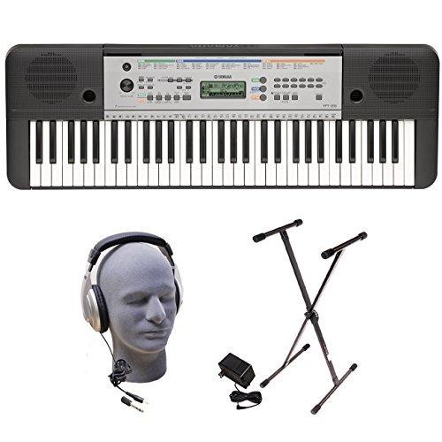 yamaha ypt255 teclado paquete de 61 teclas con auriculares,