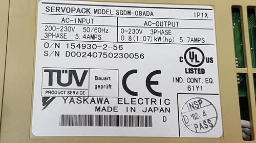yaskawa sgdm-08ada servo drive 230 800watts power industrial