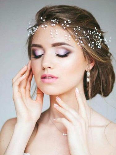 yean wedding silver headband bridal halo wreath bohemian ...