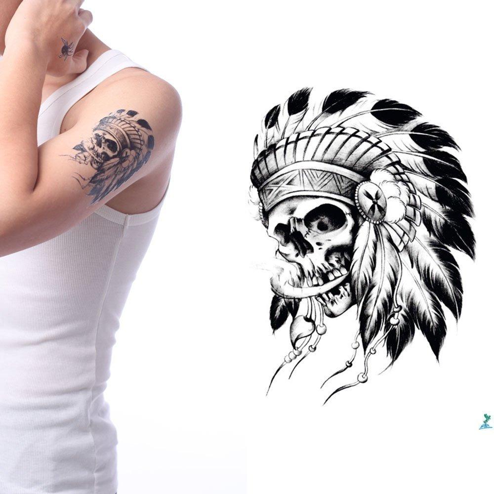 Yeeech Tatuajes Temporales Pegatina Indio Pluma Críneo S