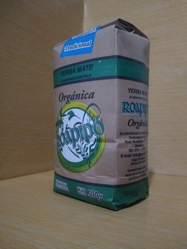 yerba mate organicá roapipó tradicional -500gr x 12 unidades