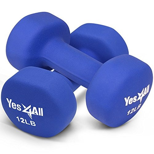 yes4all 12 lbs dumbbells neoprene with non slip grip - geni