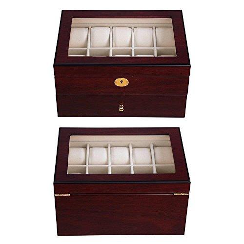 yescom 20 mens reloj de madera vitrina de cristal colección
