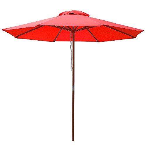 yescom sombrilla con poste de madera para patio exterior de