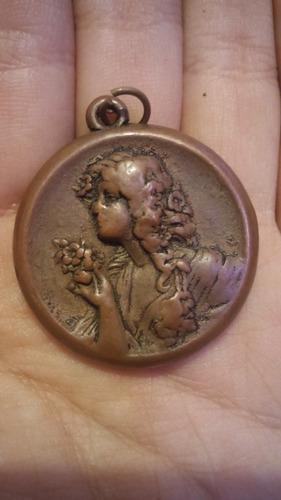 yh antiguas medalla santo peregrino plata y camafeo de cobre