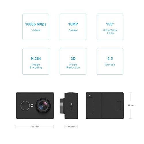 yi 1080p action camera 16mp hd gran angular sport cam con...
