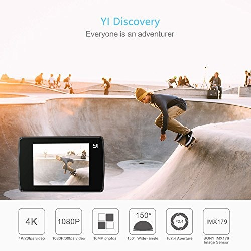 yi discovery action camera, 16mp real 4k wifi sports cam con