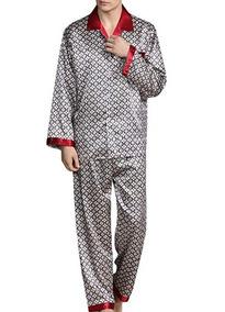 5303146a2 Yimanie Set De Pijama De Hombre Tipo Seda De Poliester Red C