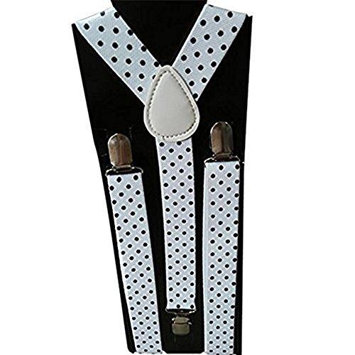 Adult+Black YING LAN Kids Men and Women Adjustable Elastic Dot Printing Suspender 30.70-39.37in