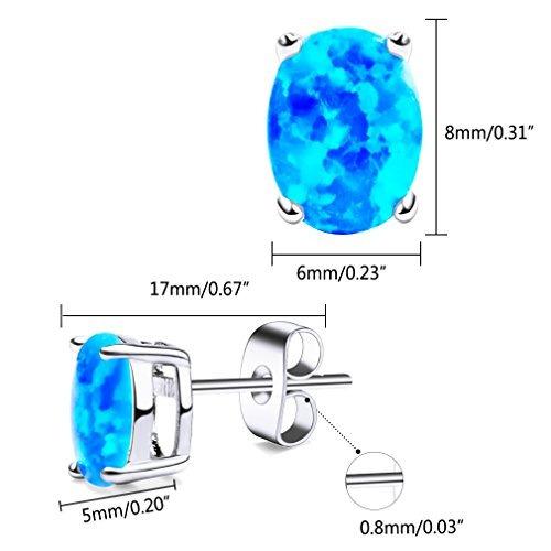 YISSION Created Gemstone 6x8mm Oval Shaped Birthstone Opal Stud Earrings